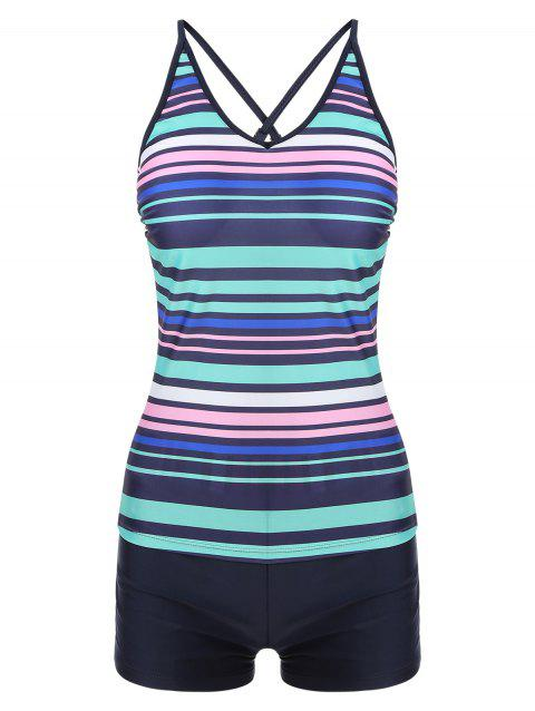 Colorful Striped Criss Cross Tankini Set - BLUEBERRY BLUE L