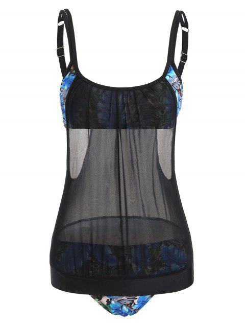 Leopard Leaf Double Up Tankini Set - BLACK 2XL