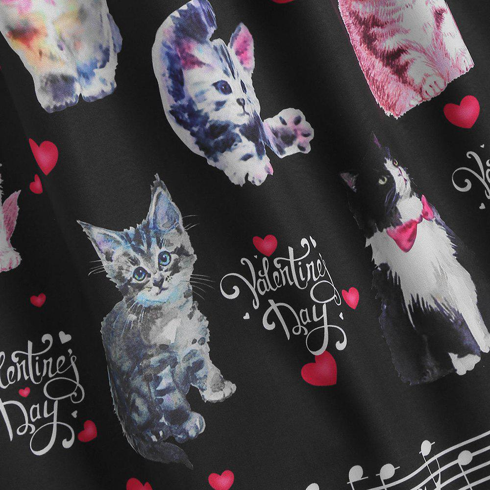 Plus Size Cat Print Valentine A Line Dress, Black