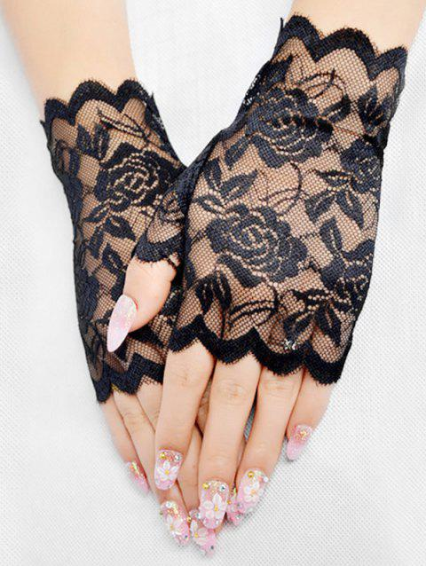 Scalloped Lace Fingerless Gloves - BLACK