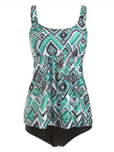 Cami A Line Geometric Tankini Set - MACAW BLUE GREEN XL