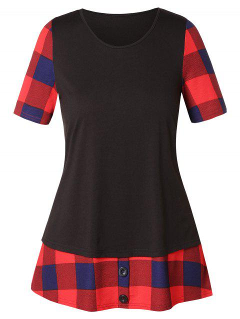Plus Size Color Block Checked Insert T Shirt - BLACK 2X