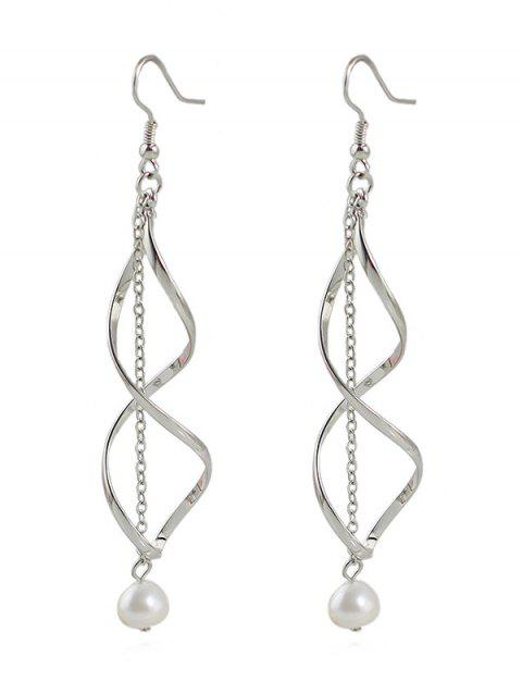 Artificial Pearl Geometric Chain Hook Earrings - SILVER