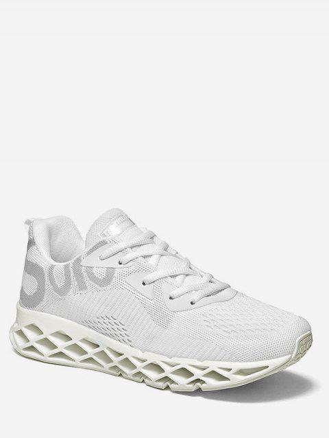 Lace Up Letter Print Athletic Sneakers - WHITE EU 39
