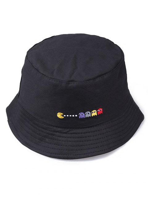 Pacman Pattern Embroidered Bucket Hat - BLACK
