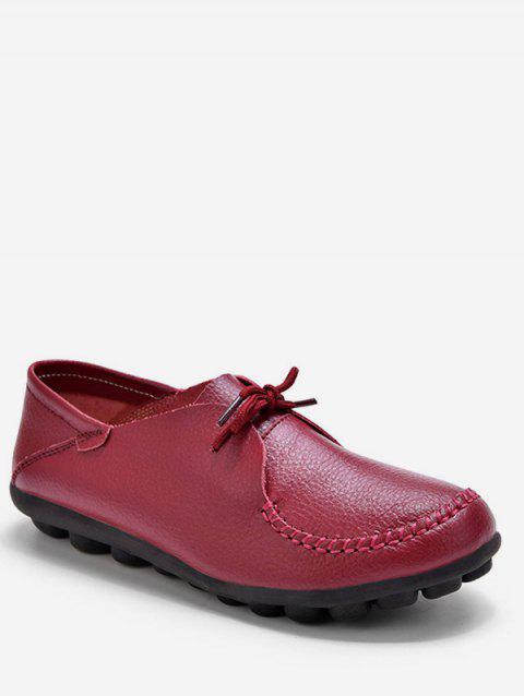 Plus Size Leather Laced-up Flat Shoes - RED WINE EU 37