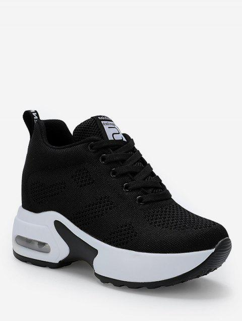 Knitted Mesh Breathable Height Increasing Shoes - BLACK EU 37