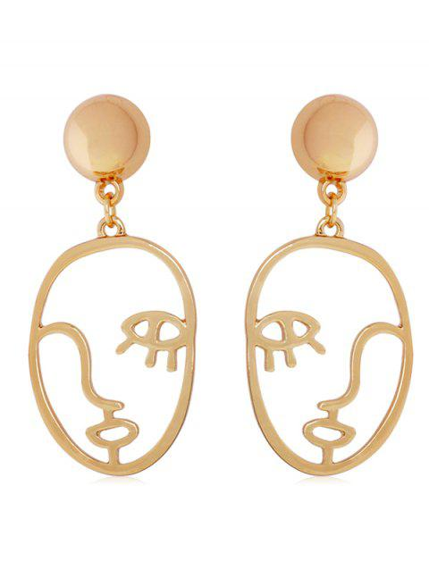 Abstract Face Shape Drop Earrings - GOLD