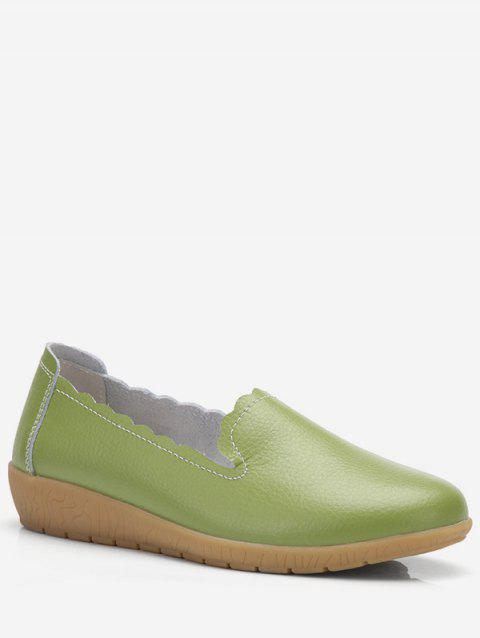 Plus Size Slip-on Leather Casual Shoes - GREEN EU 39
