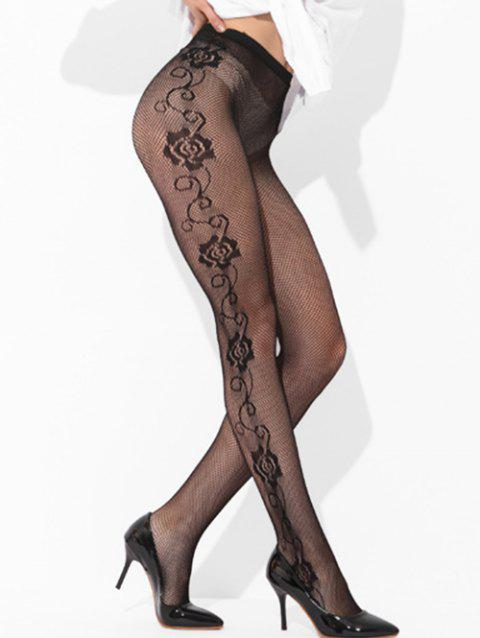 Fishnet Stockings Floral Leggings - BLACK ONE SIZE