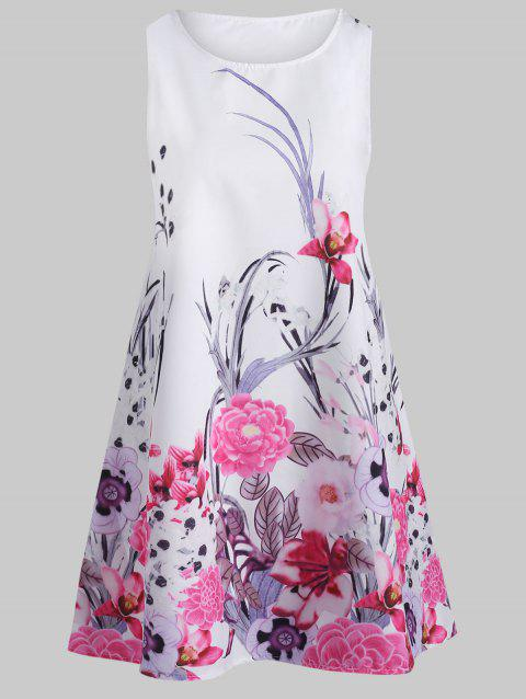 Floral Print Sleeveless Round Neck Dress - multicolor L