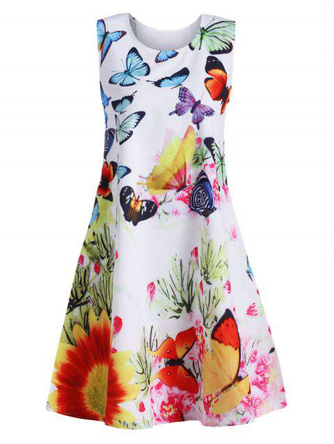 Butterfly Print Sleeveless Mini Dress - multicolor L