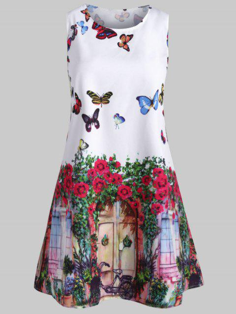 Mini Sleeveless Butterfly Print Dress - multicolor 2XL