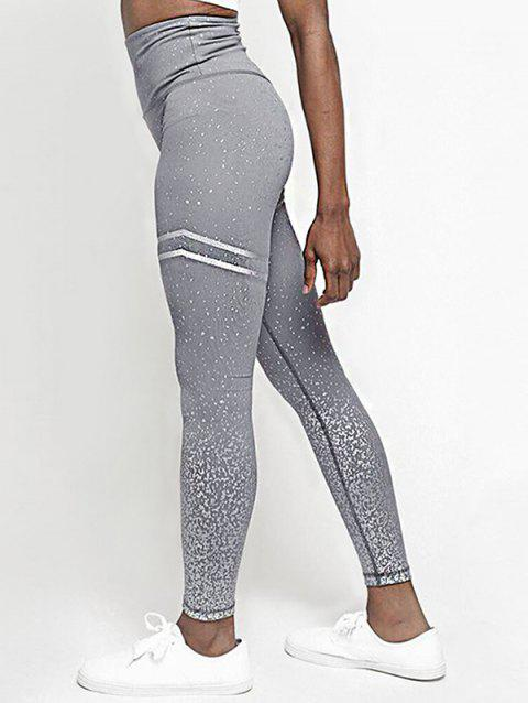 535cf77ca5bad 17% OFF] 2019 Stripes Panel Shiny Sports Leggings In GRAY GOOSE ...