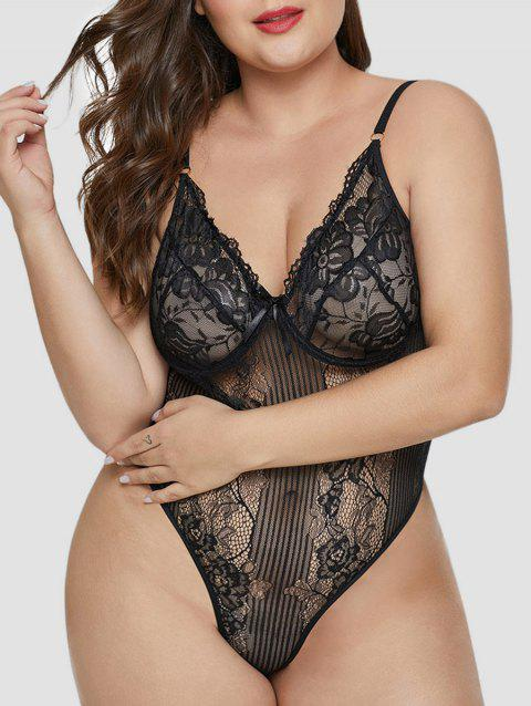 Plus Size Underwire Lace Teddy - BLACK 2X