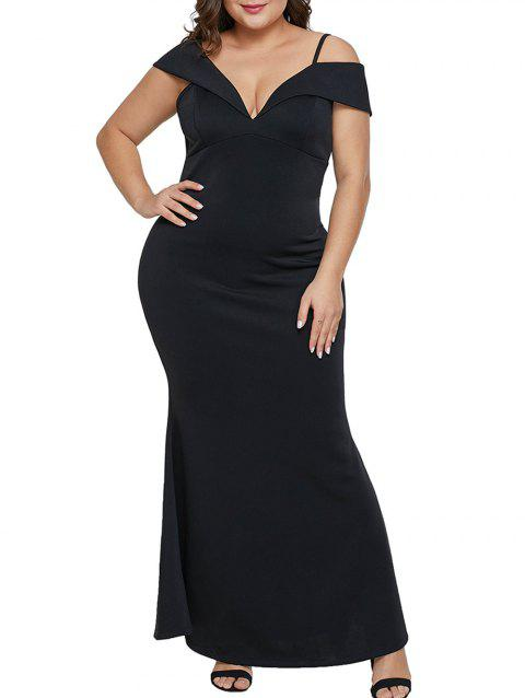 Cold Shoulder Plus Size Mermaid Dress - BLACK 5X