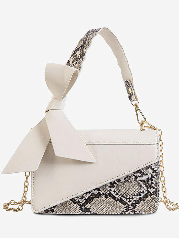 Bowknot Snake Insert Crossbody Bag - WHITE