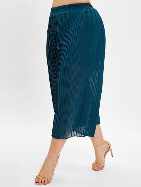 Pleated Wide Leg Plus Size Pants - PEACOCK BLUE 2X