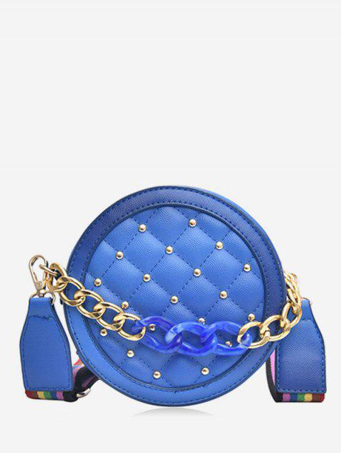 Rivet Rainbow Strap Quilted Canteen Bag - BLUE