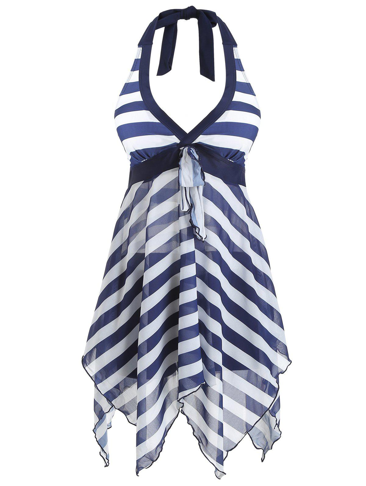 Bowknot Striped Asymmetric Tankini and Boyshort - CADETBLUE 2XL
