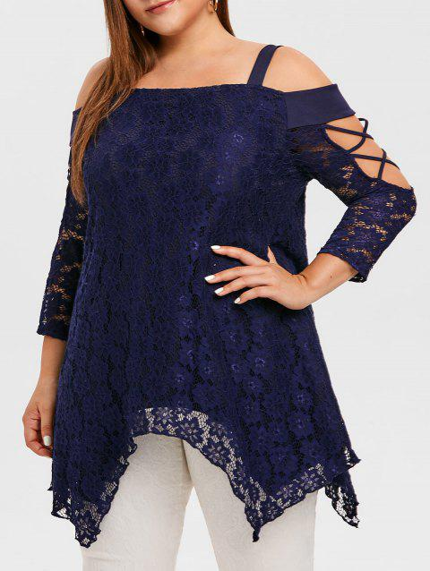 Plus Size Cold Shoulder Asymmetric Lace Blouse - DEEP BLUE 5X