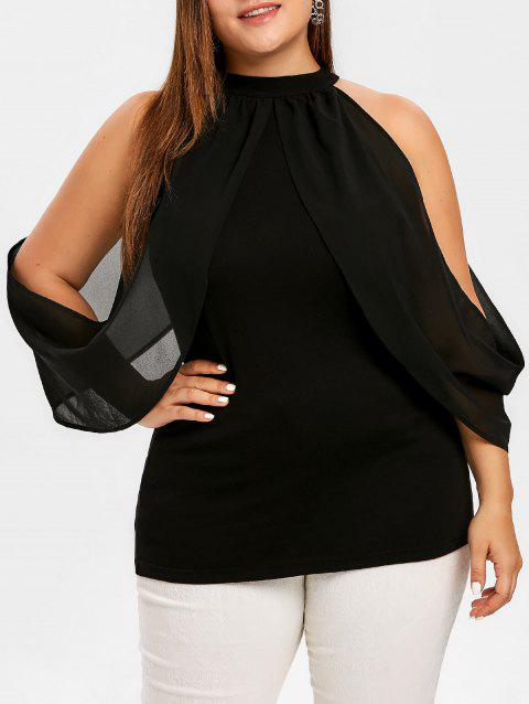 Plus Size Keyhole Cold Shoulder Overlap Top - BLACK 2X