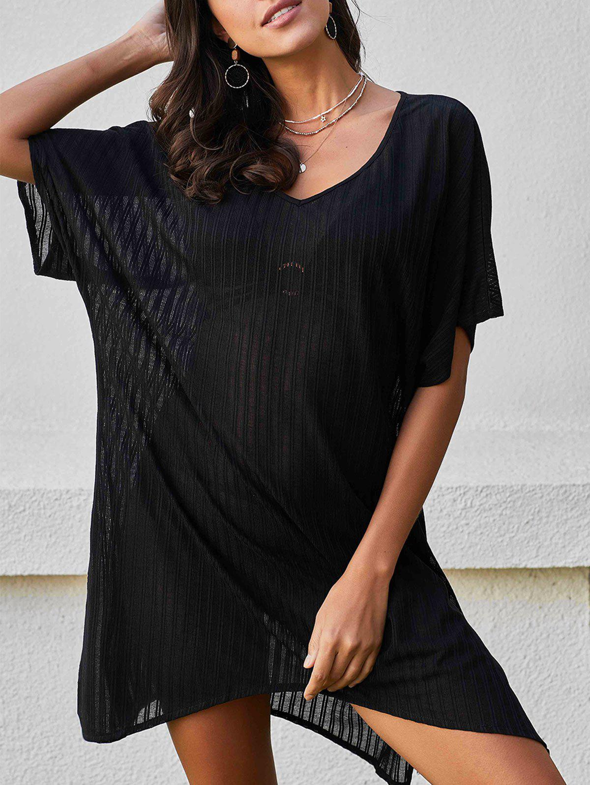 V Neck Batwing Sleeve Cover Up Dress - BLACK ONE SIZE