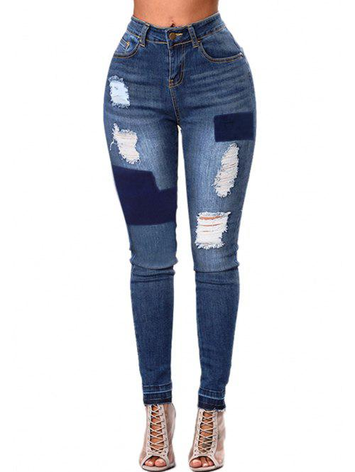 High Waist Contrast Ripped Jeans - BLUE M