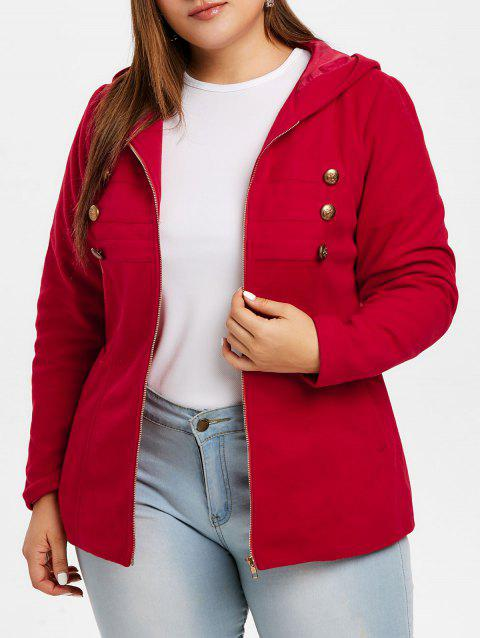 Plus Size Zipper Fly Hooded Coat with Buttons - RED L