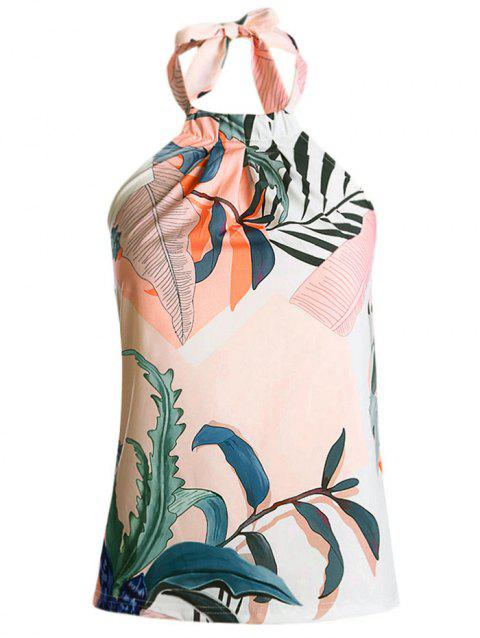 Leaves Print Casual Halter Tank Top - multicolor A M