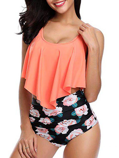 Floral Print Overlay Tankini Set - BASKET BALL ORANGE 2XL