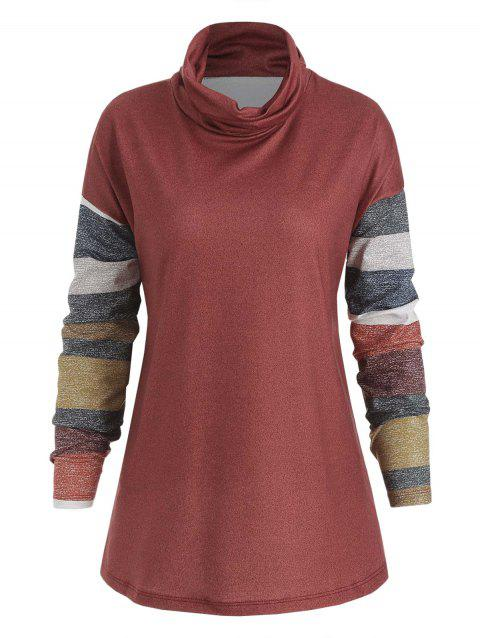 Drop Shoulder Striped Casual Top - RED L