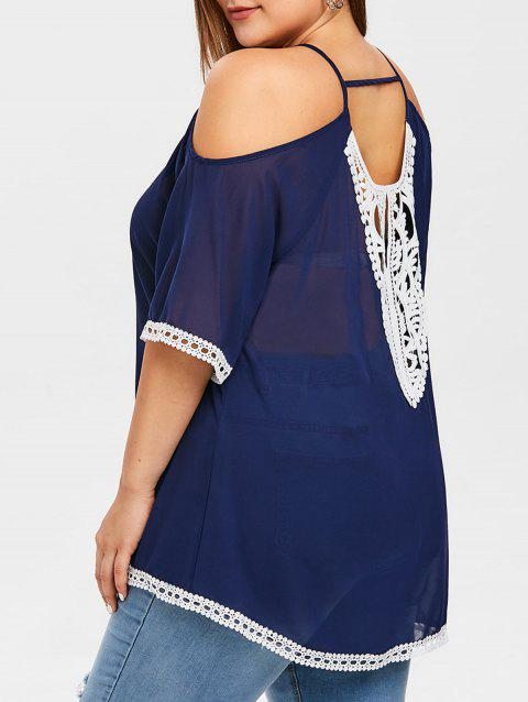 Plus Size Applique Cold Shoulder Chiffon Blouse - DEEP BLUE 4X