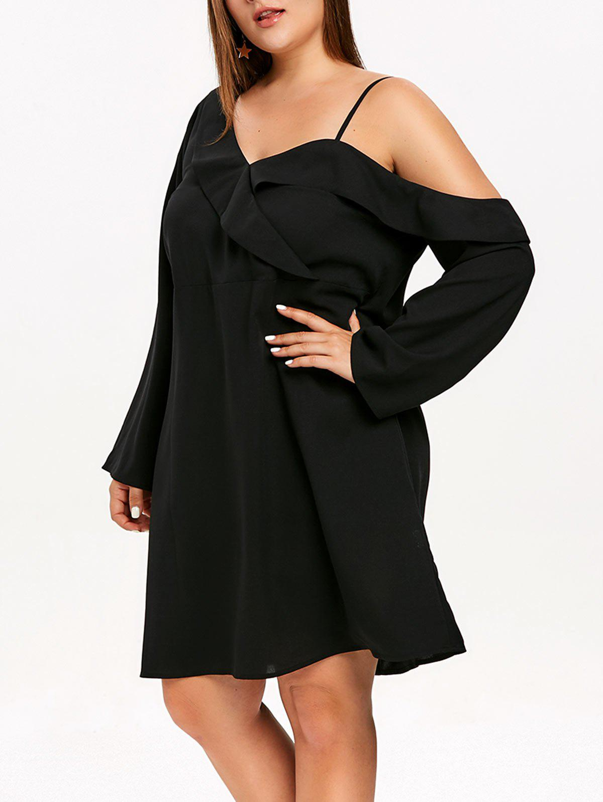 Plus Size Ruffle Trim Belted Mini Dress - BLACK L