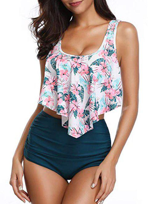 Floral Printed Overlay Tankini Set - WHITE L