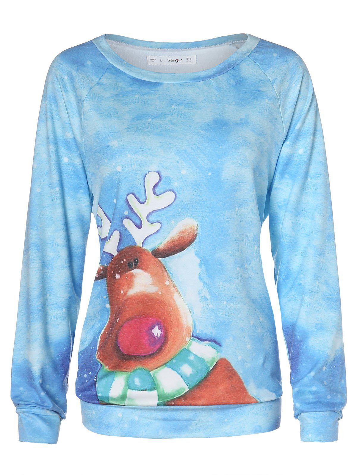 Plus Size Christmas Cartoon Elk Raglan Sleeve T-shirt - multicolor 1X