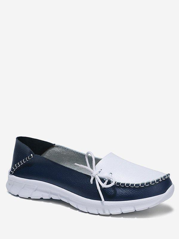 Side Bow Two Tone Loafer Shoes - AZURE EU 38