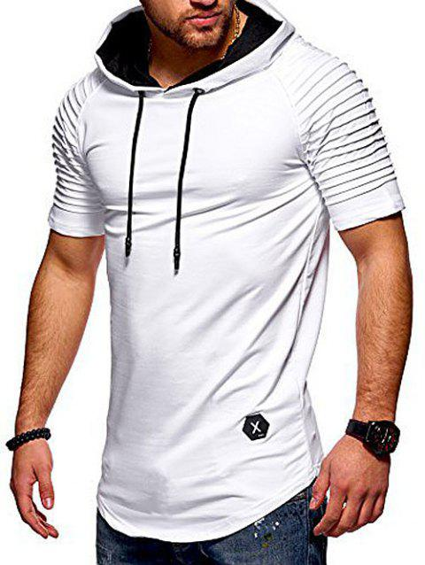 Short Layered Raglan Sleeves Applique Hooded T-shirt - WHITE M