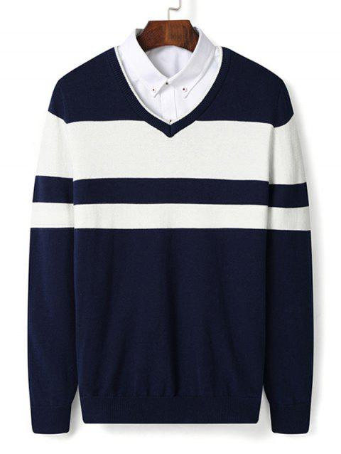 Color Block Stripe V Neck Pullover Sweater - DEEP BLUE 2XL