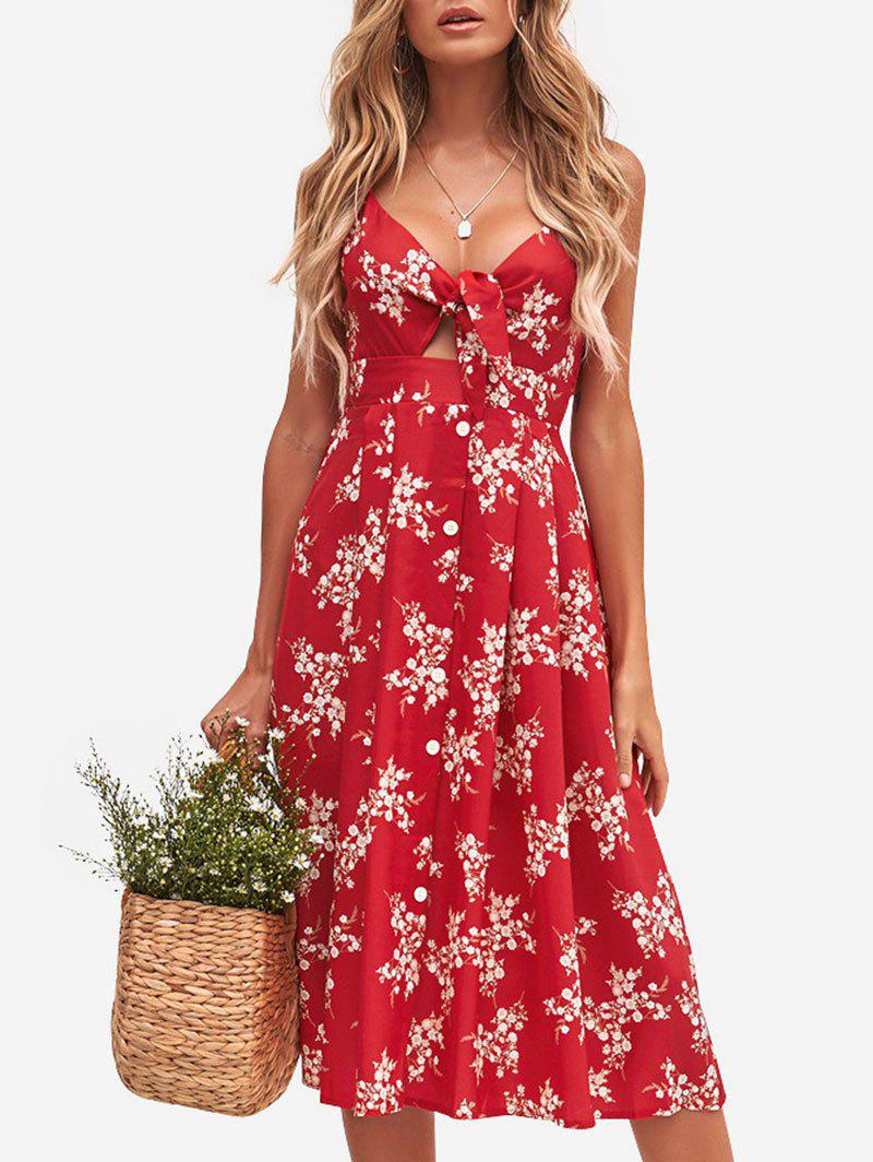 Knot Front Floral Print Midi Cami Dress - RED XL