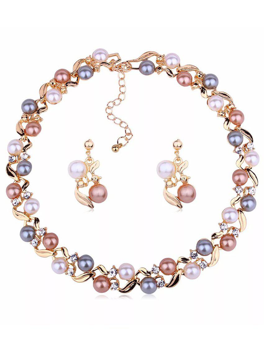 Faux Pearl Earrings Necklace Set - GOLD
