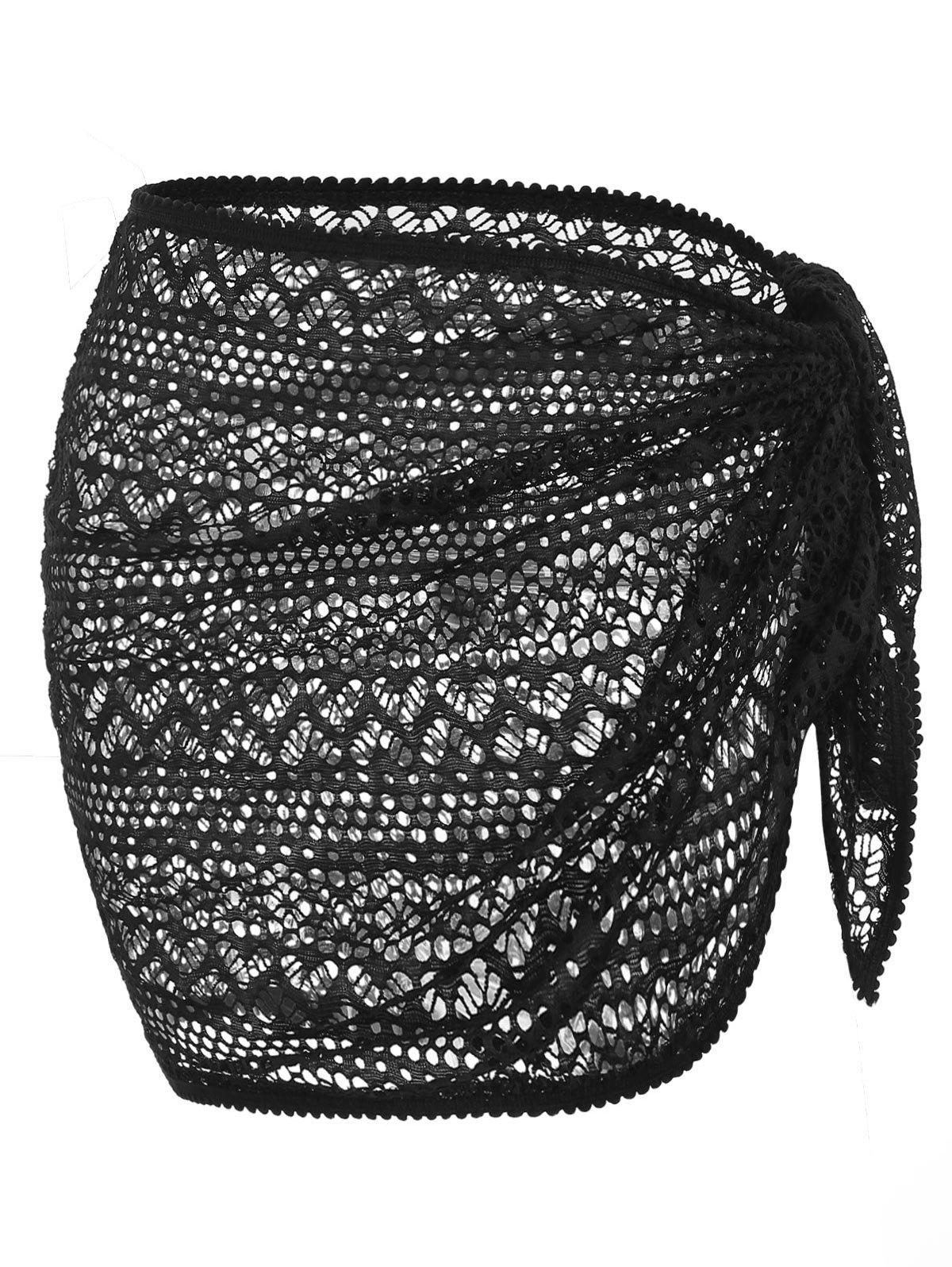 Openwork Solid Cover Up Skirt - BLACK ONE SIZE