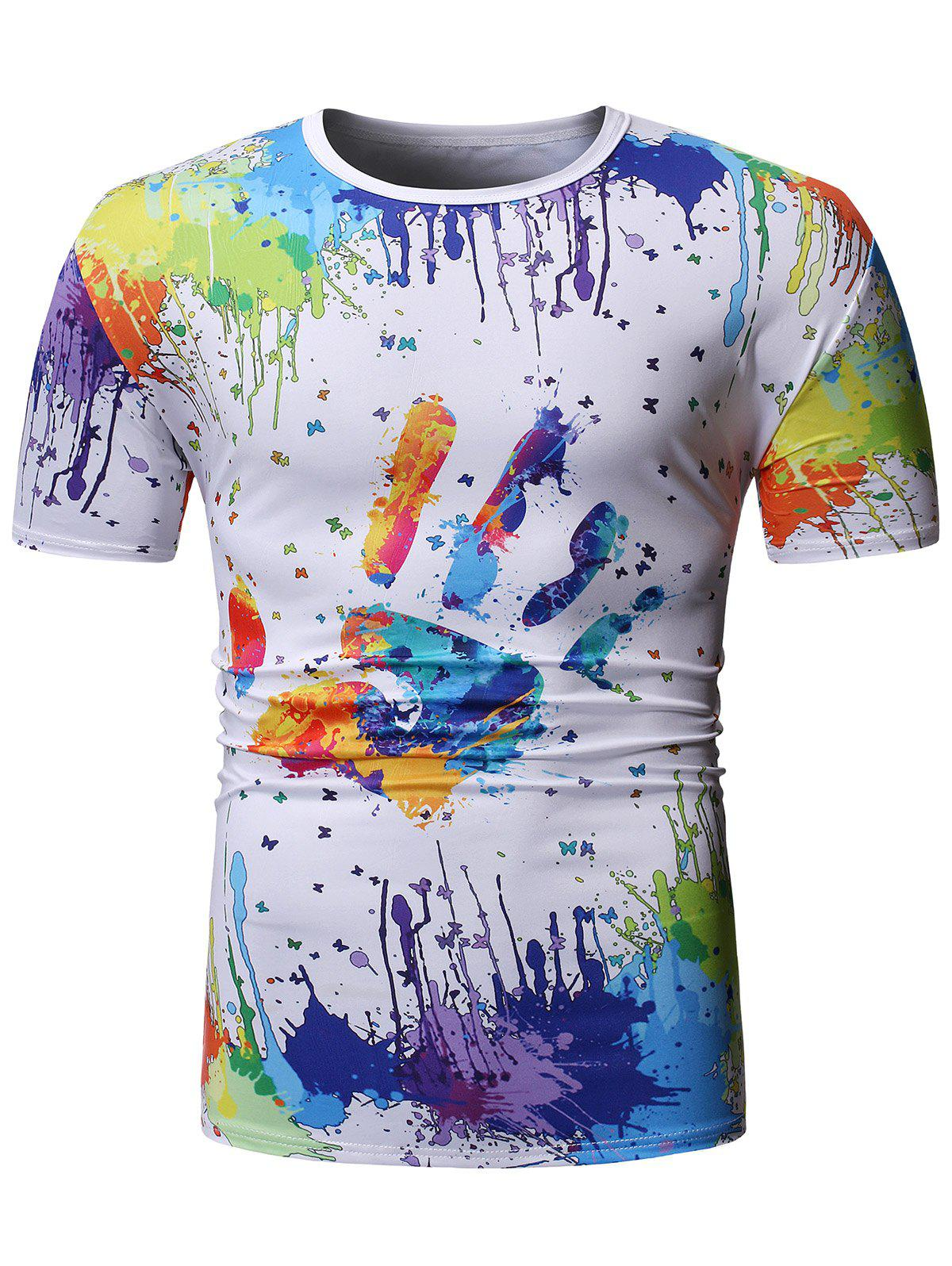 Colorful Splatter Paint Handprint Print T-Shirt фото