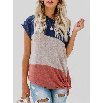 Knot Front Contrast T-shirt