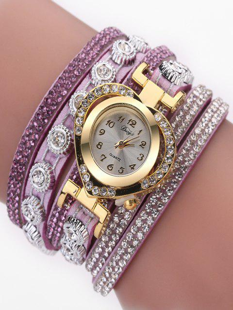 PU Leather Rhinestone Number Wrap Bracelet Watch - MAUVE