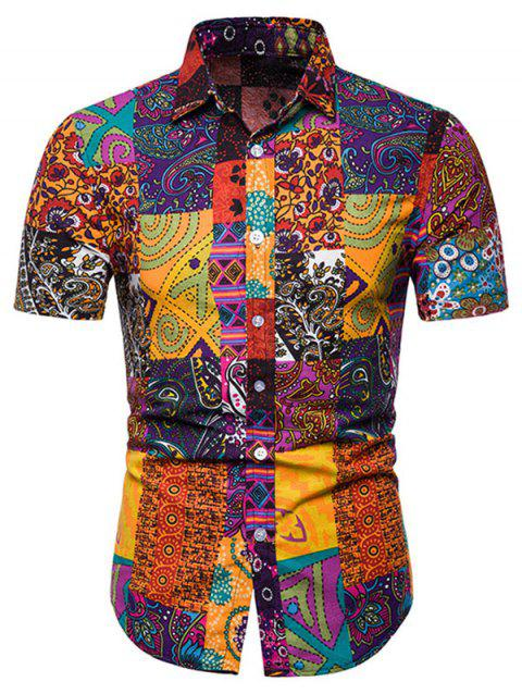 Short Sleeves Tribal Print Casual Shirt - multicolor L