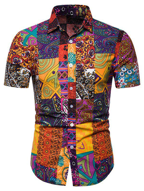Short Sleeves Tribal Print Casual Shirt - multicolor 3XL