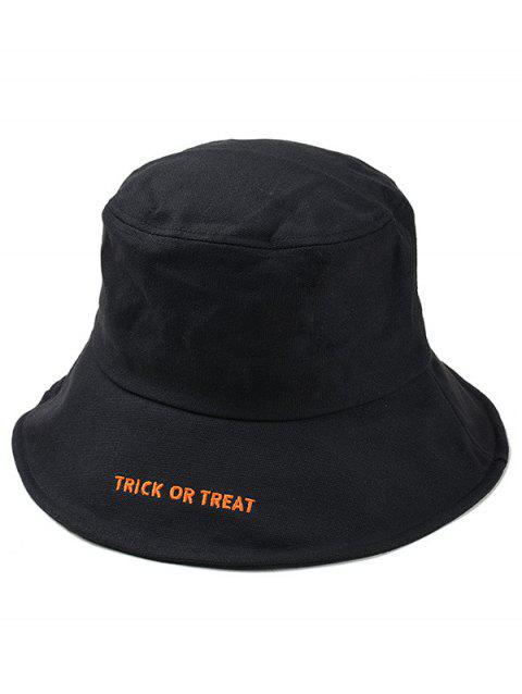 3c74e535139 2019 Halloween Letter Embroidery Bucket Hat In BLACK