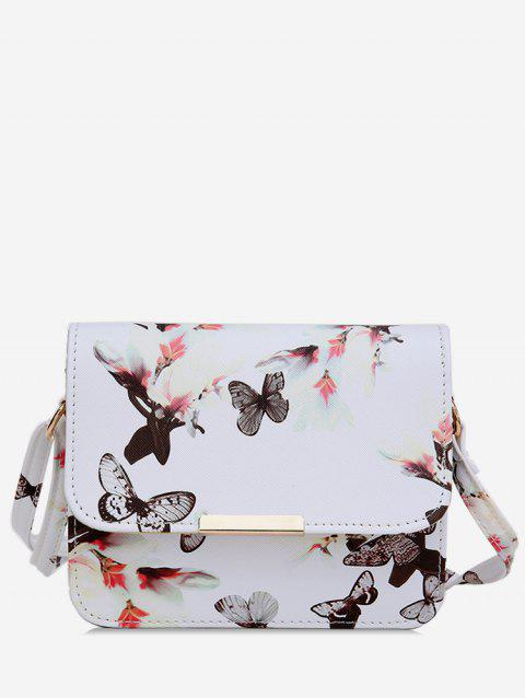 Butterfly and Flowers Print Flap Crossbody Bag - WHITE