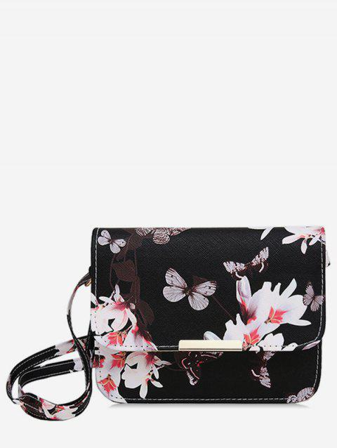 Butterfly and Flowers Print Flap Crossbody Bag - BLACK